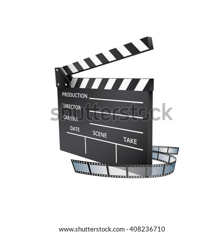 Realistic Movie Clapper and Film Strip Isolated on White Background