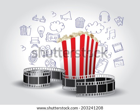Realistic Movie Elements with Doodle - stock vector