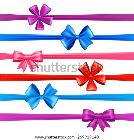 Realistic multicolored sil bows and gift ribbons set isolated vector illustration - stock vector