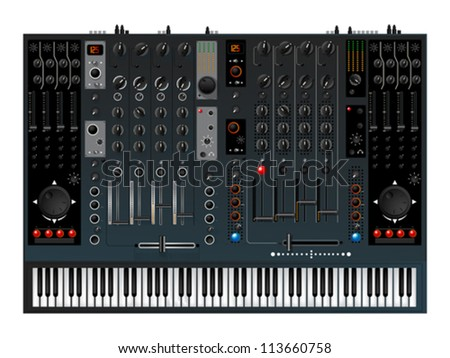 Realistic music controller, sound mixer with piano keys - stock vector
