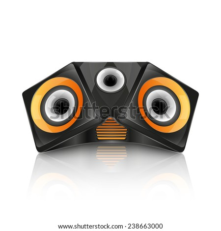 Realistic music speaker isolated on white background. vector - stock vector
