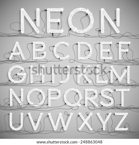 Realistic neon alphabet with wires (OFF), vector - stock vector