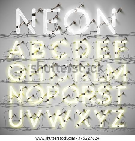 Realistic neon alphabet with wires, vector - stock vector