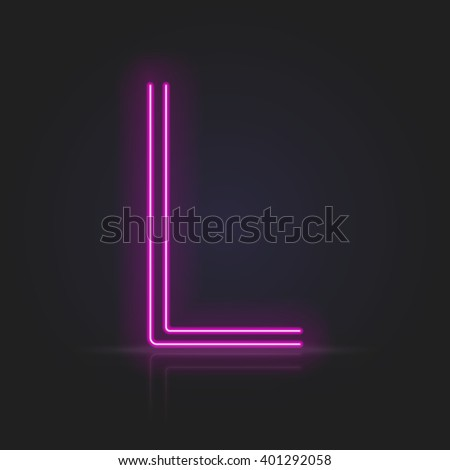 Realistic neon tube alphabet. Vector illustration. Letter L