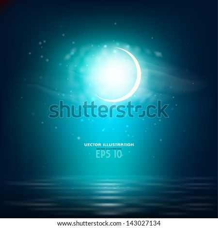 Realistic night landscape with the sea and the moon - stock vector