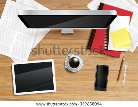Realistic office desktop, vector - stock vector