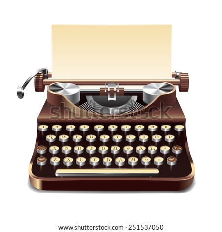 Realistic old style typewriter with paper sheet isolated on white background vector illustration - stock vector