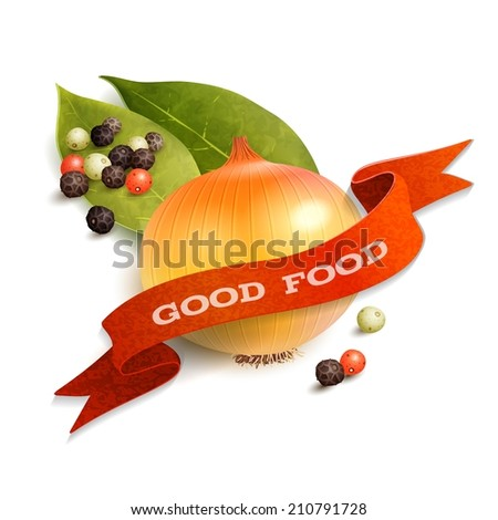 Realistic onion pepper and bay leaf good food kitchen ribbon badge vector illustration - stock vector
