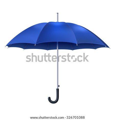 Realistic open blue umbrella isolated on white background vector illustration