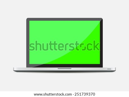 Realistic Open Laptop with green blank screen - stock vector