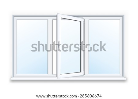 Realistic open plastic window on white background. - stock vector