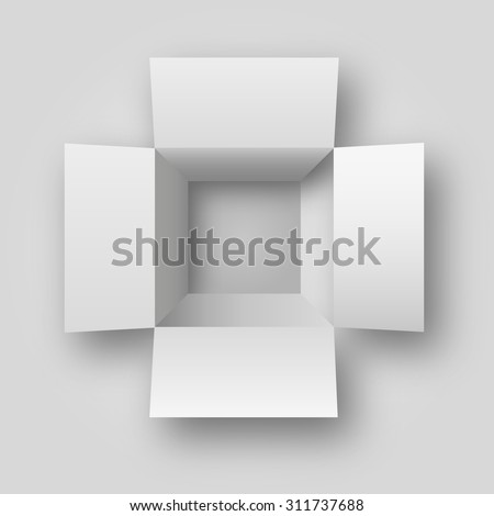 realistic opened white box top view vector illustration - stock vector