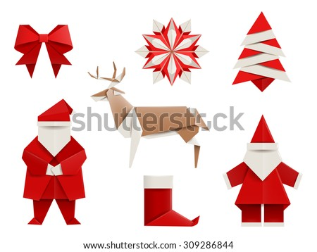 Realistic origami, Christmas set: Santa, deer, christmas tree, snowflake and so. Vector illustration, eps10, isolated on white. - stock vector