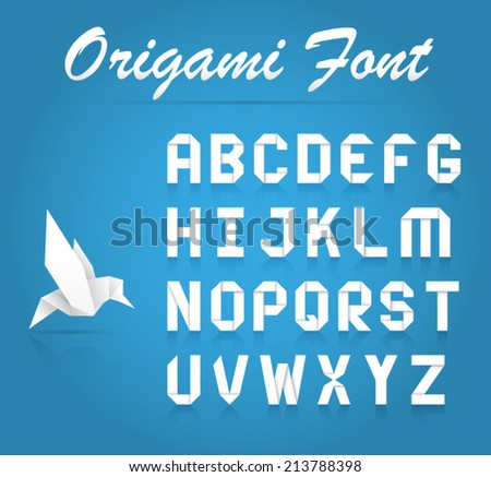 Realistic origami fold font alphabet character collection - stock vector