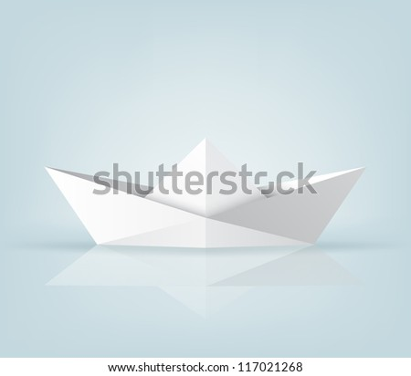 Realistic origami ship on light blue background. EPS10 vector