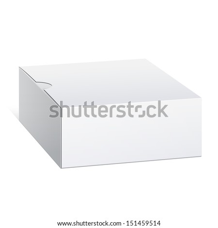 Realistic Package Cardboard Box. Square shape. Vector illustration - stock vector