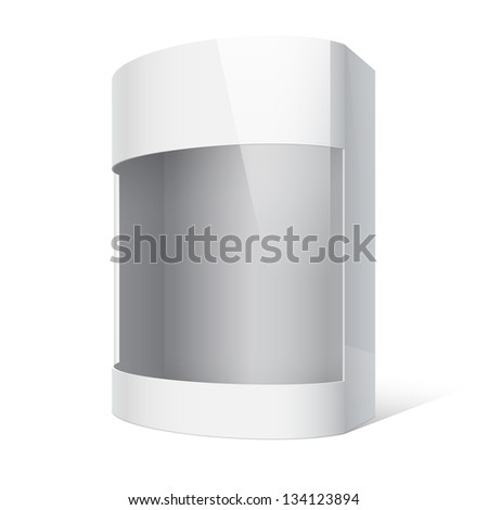 Realistic Package Cardboard Box with a transparent plastic window. On separate layers box with cutout, transparent window, and shadow. Vector illustration