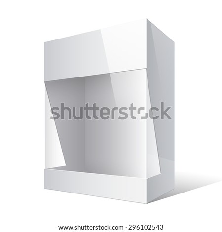 Realistic Package Cardboard Box with a transparent plastic window. Vector illustration