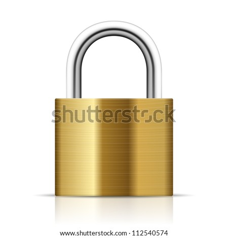 Realistic Padlock Illustration. Closed  lock security icon isolated on white - stock vector