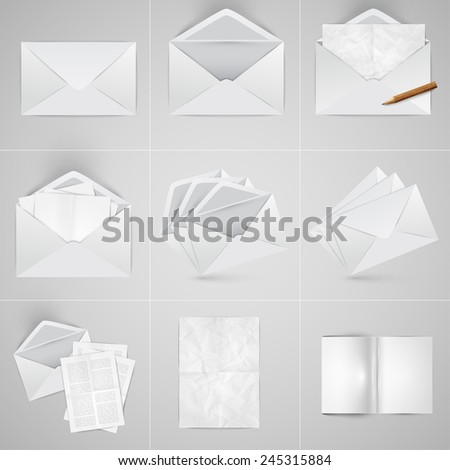 Realistic paper and envelope set, vector - stock vector