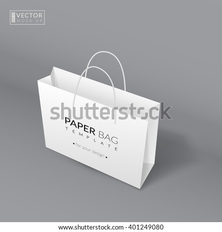 Realistic paper bag template. Vector illustration. EPS 10 - stock vector