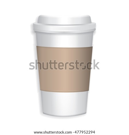 Realistic Paper Coffee Cup on White Background, Vector Mockup Template