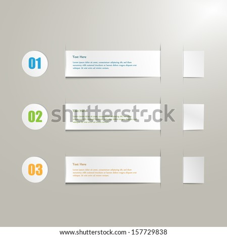 realistic paper label set with infographic steps - stock vector