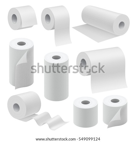 Realistic paper roll mock up set isolated on white background vector illustration. Blank white 3d packaging kitchen towel, toilet paper roll, cash register tape, thermal fax roll. Paper roll template