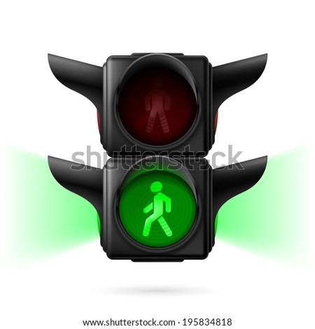 Realistic pedestrian traffic lights with green light on and sidelight.