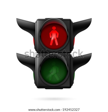Realistic pedestrian traffic lights with red lamp on. Illustration on white background