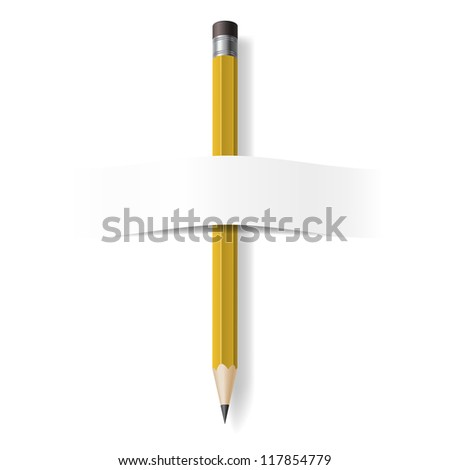 Realistic Pencil. Illustration on white background for design