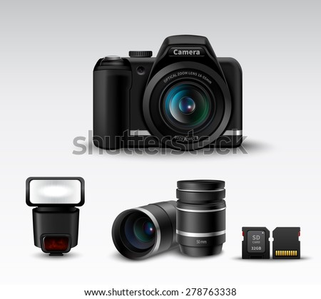 Realistic photo camera and flash lens sd card accessory set vector illustration - stock vector