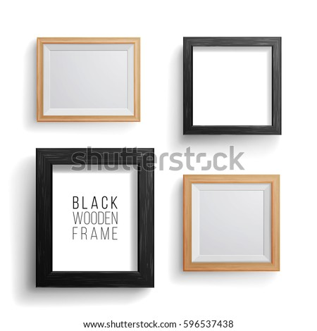 realistic photo frame vector set collection of empty blank realistic picture frames on white - Wooden Picture Frames