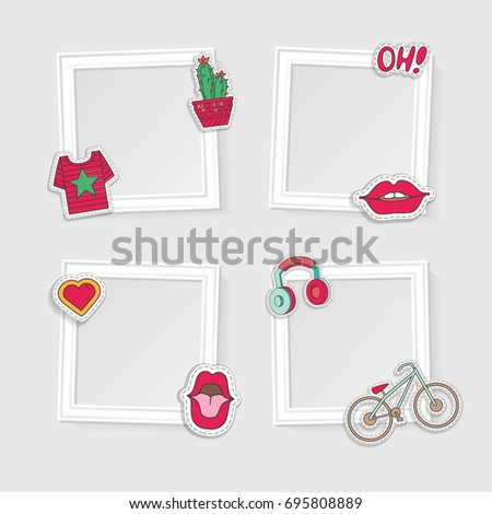 Realistic Photo Frames Image Photo On Stock Vector 695808889 ...