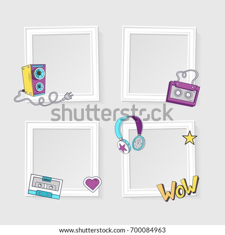 Realistic Photo Frames Image Photo On Stock Vector 700084963 ...