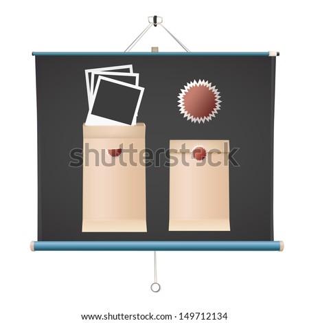 Realistic photos inside envelope over projector screen. Vector design - stock vector