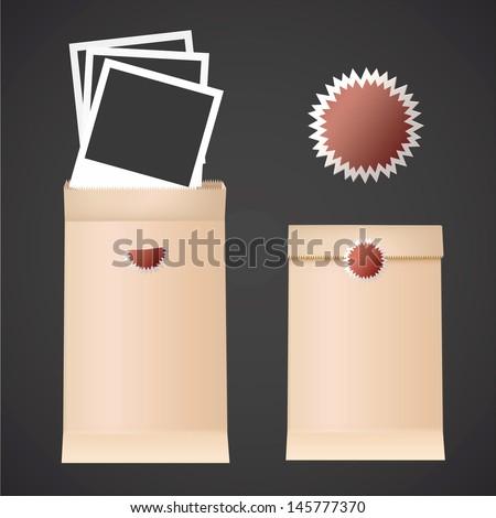 Realistic photos inside envelope. Vector design. - stock vector