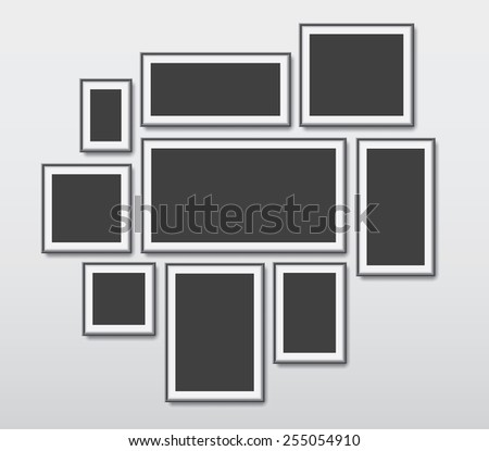 Realistic picture frames vector set, illustration background - stock vector