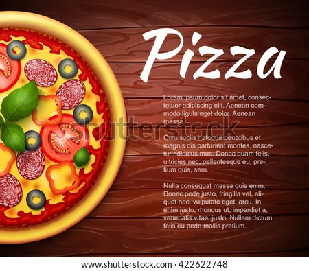 realistic Pizza recipe or menu vector background. Pizza with tomatoes and pepperoni on wooden table with copy space aside - stock vector