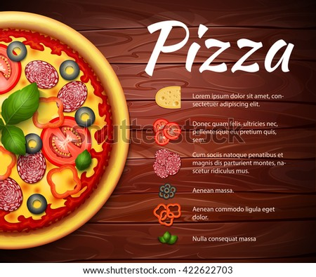 Realistic Pizza recipe vector background with ingredients. Pizza with tomatoes and pepperoni on wooden table