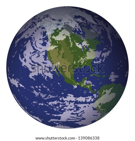 Realistic planet mother Earth isolated on white background. Elements of this image furnished by NASA (www.visibleearth.nasa.gov). Eps10, contains transparencies. Vector - stock vector