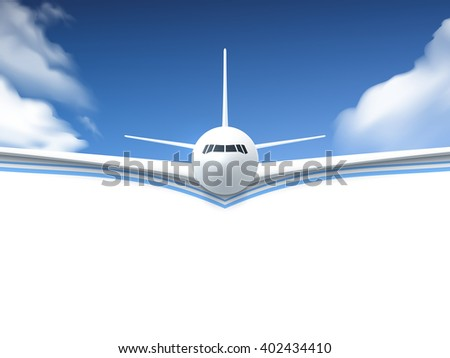 Realistic poster white Airplane flying in the sky with white bottom abstract background vector illustration - stock vector