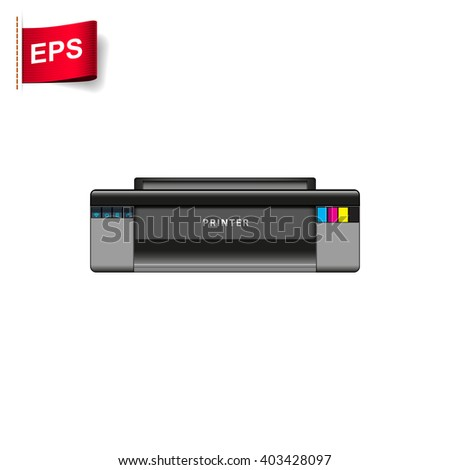 Realistic printer, printing sign, printer icon, isolated printer
