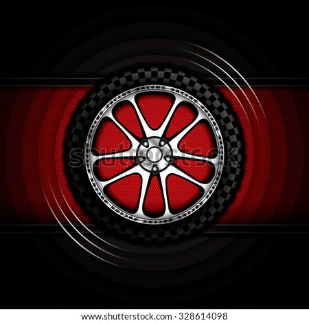 Realistic racing car wheel with shining rim.Vector illustration  - stock vector