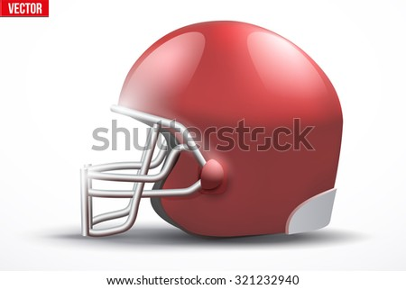 Realistic Red American football helmet with reflex. Equipment sport illustration. Side view. Vector Isolated on white background. - stock vector