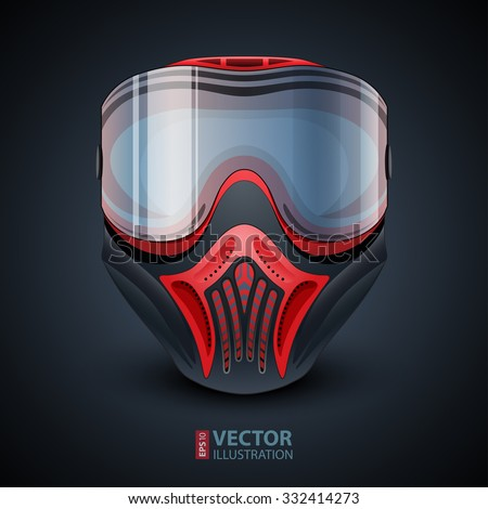 Realistic red and black paintball mask with transparent goggles on dark blue gradient background. RGB