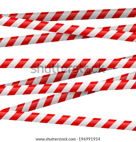 Realistic red and white danger tape. Illustration on white background  - stock vector