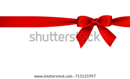 Realistic red bow and ribbon on white background vector illustration