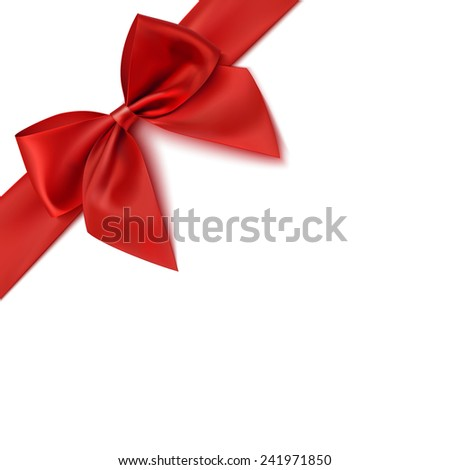 Realistic red bow isolated on white background. Ribbon. Vector illustration
