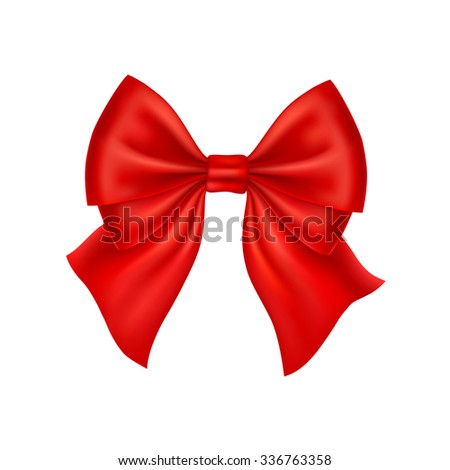 Realistic red bow isolated on white background. Vector illustration